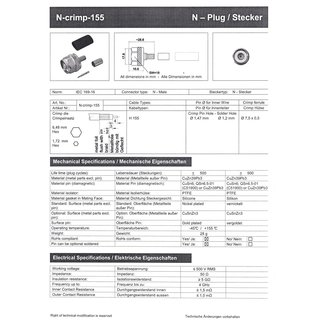 N 155 cr TA - N-Stecker für h155 Crimpversion